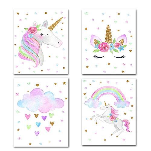 Romote 4pcs Unicornio sin Marco Pinturas de Las Pinturas del patrón para la decoración Interior Poster