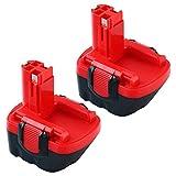 Topbatt 2pièces 12V 3.0Ah Ni-MH Batterie de Remplacement pour Bosch BAT043 BAT045 BAT046 BAT049 BAT120 BAT139 2607335273 2607335249 2607335709 2609200306 GSR12-2 GSR12-1 PSB12VE-2 PSR1200