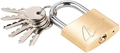 AGT Schloss: Vorhängeschloss aus Messing, 48 mm, 6 Schlüssel (Vorhängeschloss mit 6 Schlüsseln)