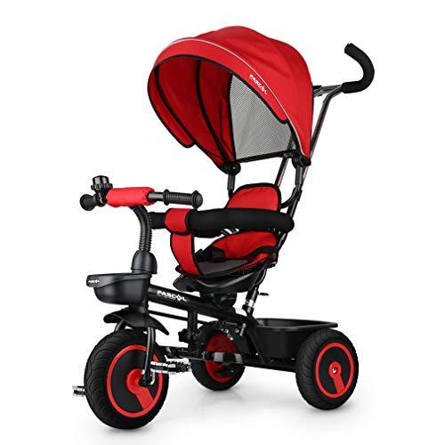 Fascol 6 in 1 Triciclo per Bambini con Sedile Girevole Adatto per età 12 Mesi - 5 Anni (Rosso)
