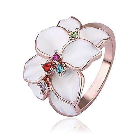 nykkola nykkola Schöne elegante Jewelry Colorful Kristall Flower Leaf 18K Rose Gold Vergoldet Ring Band