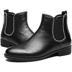 gracosy Bottines Hiver Femmes, Chaussures Plates Ville Talons Plats Boots Chelsea Printemps Fourrure Bottes de Neige Intérieur Fourrée Velour Confortable Noir Gris