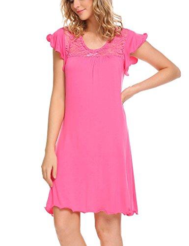 Pyjama Sleepshirt (Unibelle Damen Weich Nachthemd Sleepshirt Schlafanzug Negligee Nachtwäsche Pyjamas Kurz Nachtkleid)