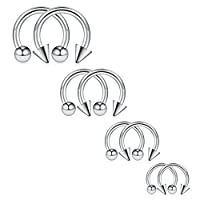 Ruifan 8PCS Surgical Steel CBR Nose Septum Horseshoe Earring Eyebrow Tongue Lip Piercing Ring with Balls & Spikes 14G 8-14mm - Silver