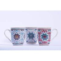 Homevibes Set De 3 Taza Mug De Desayuno con Estampado Mandalas, Taza Mug De Cafe