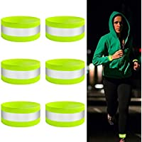 YHmall 6 Pack Reflective Armbands - Hi Vis Reflective Strips for Outdoor Running, Motorcycle Riding, Cycling and Walking