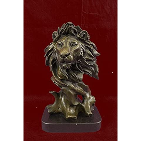 Escultura bronce estatua...Envío gratis...Firmado mármol original Busto Milo africano masculino del león(DW-130-JP)Estatuas estatuilla estatuillas desnuda Oficina y Decoración del hogar Coleccionables