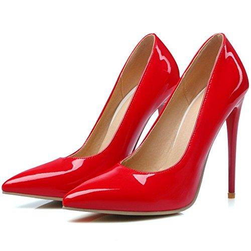 COOLCEPT Femmes Chaussures Pointu Talons Hauts Escarpins fete Soiree Rouge