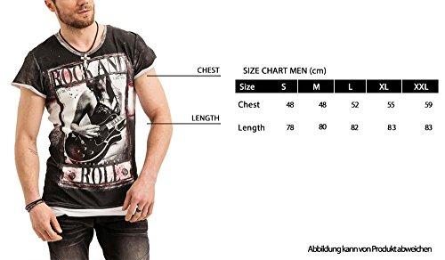 trueprodigy Casual Herren Marken T-Shirt mit Aufdruck, Oberteil cool und stylisch mit V-Ausschnitt (kurzarm & Slim Fit), Shirt für Männer bedruckt Farbe: Khaki 1073130-0629 Khaki