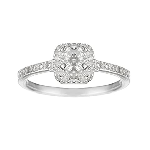 Silverly Frauen .925 Sterling Silver Square Solitaire Zirkonia Round Brilliant Cut Ring