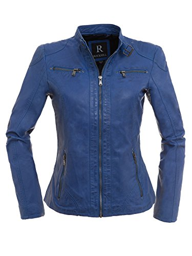 Magnifica Sportliche Damen Lederjacke Tiara in schönem sattem Blau aus Lammnappa Leder (42/XL)