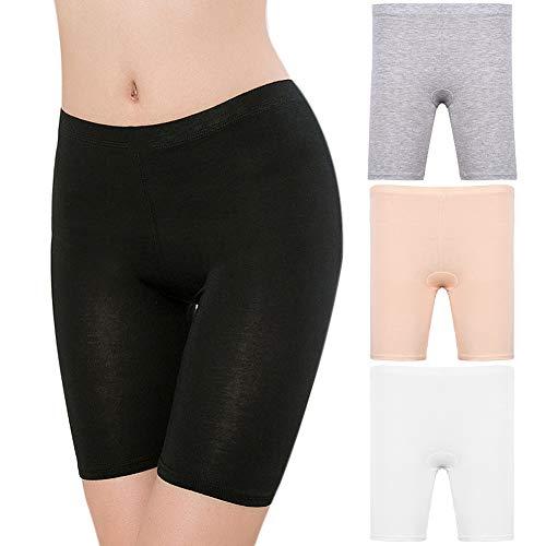 Vathery 4 Pezzi Donna Elasticizzati Pantaloncini Intimi, Donna Legging Corti Pantaloni Sottogonna Pantaloncini, Sicurezza sotto i Vestiti per Ragazze Accessorio in 4 Colori (Taglia-XL)