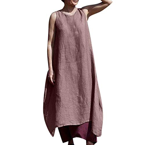 Damen Leinenkleid Sommer Lang Tunika Kleid Vintage Baggy Party Kleider Langarm Baumwolle Leinen Kleid Maxikleid Strandkleid Große Größe S-5XL (M/EU:36, Wein)