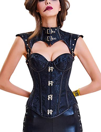 FeelinGirl Damen Korsett mit Stahlstäbchen - Brokatmuster - Retro/Gothic/Steampunk-Stahl ohne Knochen, Black, XL(EU 40)