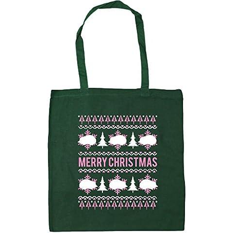 HippoWarehouse feliz de erizo de Navidad bolsa de la compra bolsa de playa 42cm x38cm, 10litros