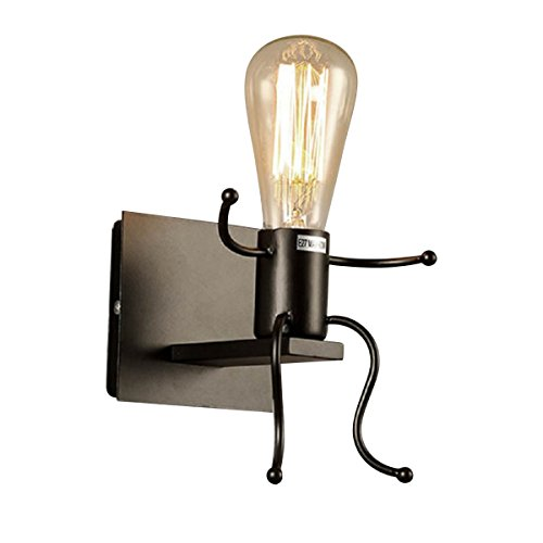 KAWELL® Kreative Vintage Wandleuchte LED Industrie Retro Wandlampe Schwarz Eisen E27 Halter Innen Art Deco für Bar, Schlafzimmer, Küche, Restaurant, Café, Flur, Schwarz