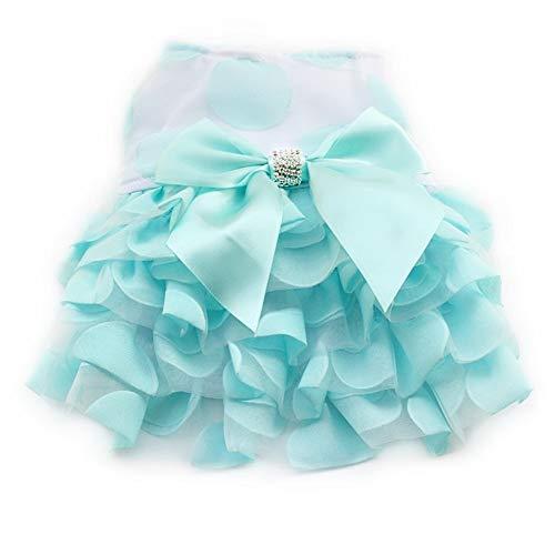 niedliche flauschige Strass Schmetterling Dekoration Hund Kleider Hunde Prinzessin Kleid Haustier Sommer Kleidung Größe 5 (Color : Blue, Size : XL) ()