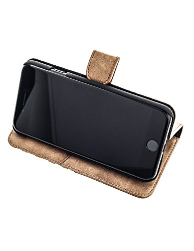 "QIOTTI >             Apple iPhone 7 (4,7"")             < incl. PANZERGLAS H9 HD+ Geschenbox Booklet Wallet Case Hülle Premium Tasche aus echtem Kalbsleder / Denim mit Kartenfächer und Standfunktion in BLAU. Edel verpackt inc BRAUN"