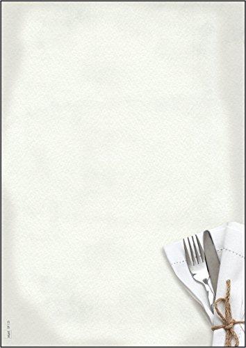 Sigel DP125 Papier à lettres, 21 x 29,7 cm, 90g/m², Menu de restaurant, blanc et gris, 50 feuilles