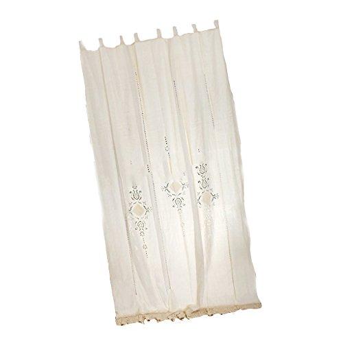 Lot de 1 Rideau de Fenêtre en Crochet Ajouré Panneau Occultant en Coton Lin - Beige, 180x255cm