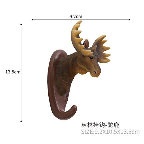 Gu3Je Qualität Harz Tiere Kopf Haken an der Wand befestigter einzelner Aufhänger Handwerk Dekor für Elch