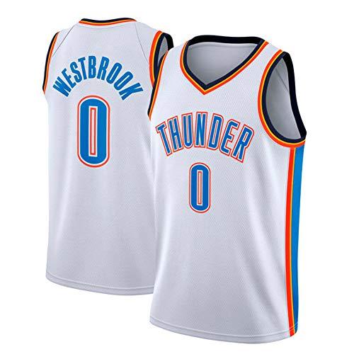 Herren NBA Jersey Trikot Russell Westbrook Oklahoma City Thunder # 0 Basketball Trikot YIXUAN (Weiß, M (48))