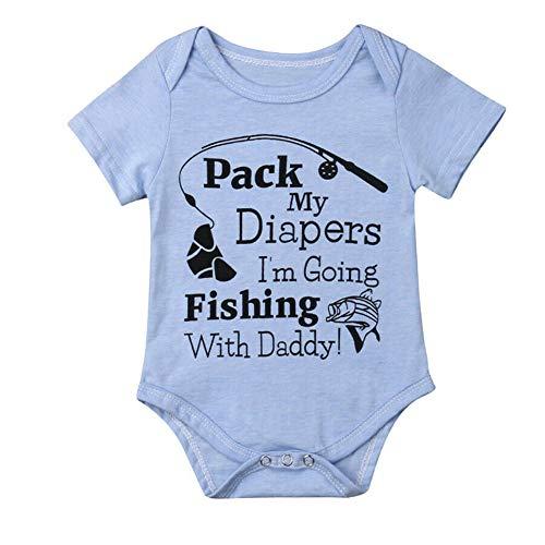 Neugeborenes Baby Jungen Mädchen Kurzarm Angeln mit Papa Bodysuit Strampler Outfits (Blau, 6-12 Months) -