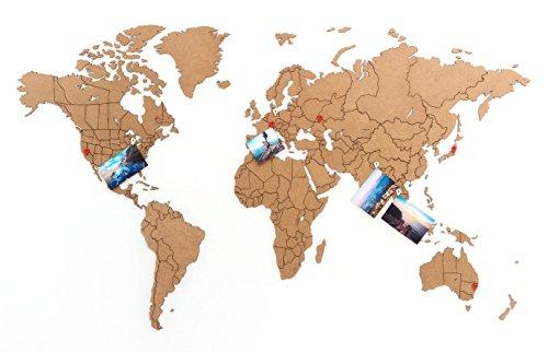 MiMi Innovations - Lussuoso True Puzzle Mappa del Mondo in Legno 100 x 60 cm - Marrone