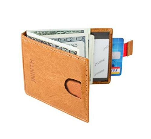 Kreditkarte Brieftasche Mit Geldscheinklammer - RFID Schutz Front Pocket Geldbörse Minimalistischen Geldbörse aus echtem Leder Schlanke Brieftasche Geldscheinklammer für Männer