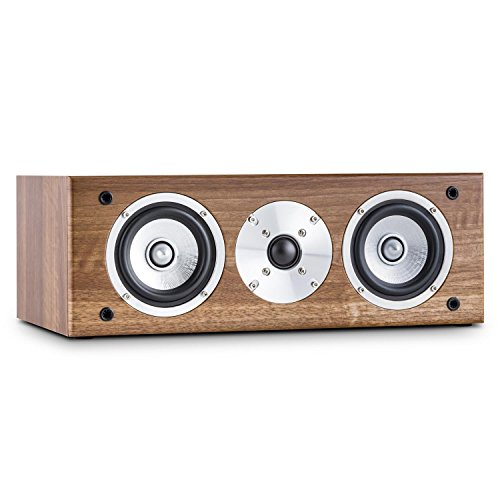 41oEfjuYmvL. SS500  - AUNA Line 501-CS-WN Passive Centre Hifi Speaker (60W RMS, 2 x 4 Midrange Drivers & Gold Plated Speaker Connections) Walnut