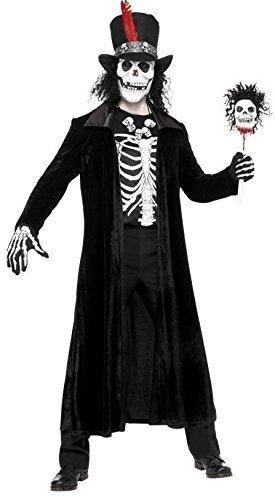 Herren Voodoo Master Evil Death Schädel Halloween Horror Black Magic Kostüm Kleid Outfit (Halloween Horror Nights Voodoo)