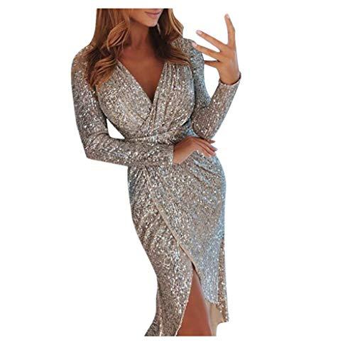 SANFASHION Glänzend Partykleid Damen Abendkleider Elegante Festliches Kleid Fransen Langarm V-Ausschnitt Sexy Cocktailkleid für Hochzeit Paillettenkleid