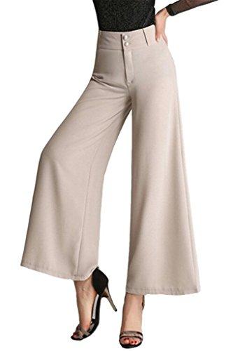 tailloday Damen Hohe Taille Palazoo Gaucho Knöchel Hose Boho Leinen Culotte Gr. L(Etikett 58), beige (Hohe Hose Bein Weites Leinen Taille)