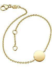 Juwelier Gelber Armband mit Gravurplatte rund 9mm 585 14 Kt Gelbgold inklusive Wunsch Gravur