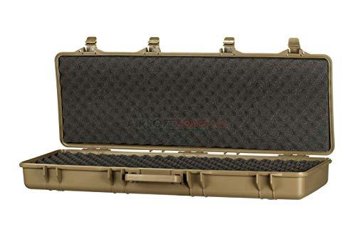 NEEZ Gewehr-Hartschalenkoffer für Pistolen Gewehrkoffer Schaumstoffeinlage mit Würfelraster (105cm Braun Gehäuse)