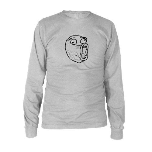 Guy Nerd Kostüm - LOL Face - Herren Langarm T-Shirt, Größe: S, Farbe: weiß