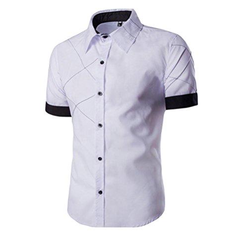 Sommer Slim Fit T-Shirt für Herrent, Amlaiworld Kurzarm T-Shirt Turn-Down Kragen (XXXL, Weiß)