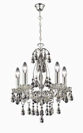 Paul Neuhaus 3085-17 Lustre à 5 lampes Casta avec suspensions en cristal