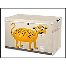 3Sprouts Spielzeugkiste, für Kinder, 100 % Polyester, Aufbewahrungskiste, Weiß-Ecru und Gelb–Motiv: Leopard, Maße: 62x 37x 38cm, verstärkte Struktur, mitDeckel, 2 seitliche Griffe, sehr gute Qualität, originell und sehr praktisch
