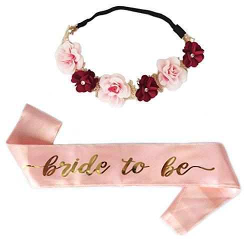 edida de Bride to Be Sash Blumenkranz, Braut Zu Sein Schärpe Blumen Stirnband, Henne Party Dekorationen ()