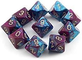 Chessex Dice Sets: Gemini Purple & Teal     Gold - Ten Sided Die d10 Set (10) | La Plus Grande En Matière De Commodité  039701