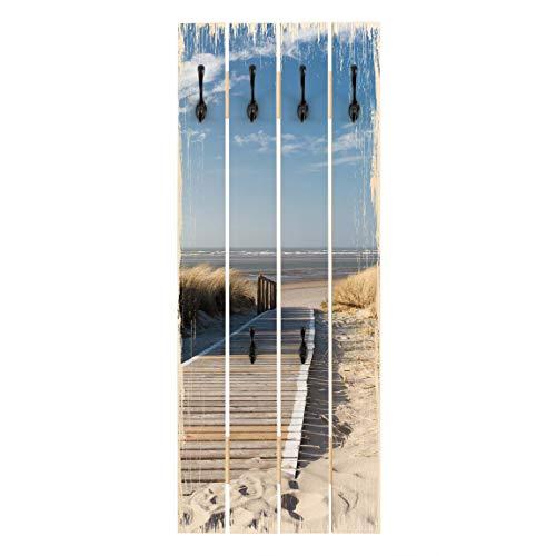 Top Maritim & Shabby Wandgarderobe Ostsee Strand Haken schwarz 100 x 40cm