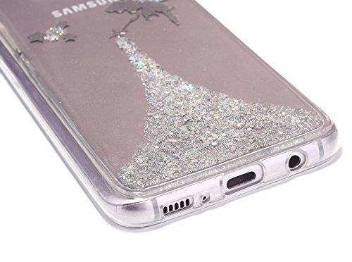 Coque Étui Housse pour Samsung Galaxy S8 Plus,Etsue Coque Samsung Galaxy S8 Plus Silicone Ultra-Mince Case Clear View Coque a Rabat Transparent Housse Téléphone avec Glitter Paillette Bling Brillant S Elfe Agrent