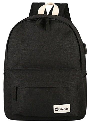 Bopopo Cavas Laptop Backpack Casual School Reisen Daypack mit USB Ladestation Grau Schwarz
