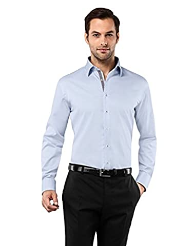 Vincenzo Boretti Men's Shirt Slim Fit Non Iron Uni with contrasts,ice-blue/brown,16.5