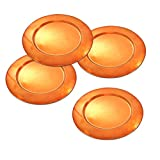 Dungri Indien Craft ® Elegante Geschirr Ladegerät Platten-Verkupferung Beschichtete Rund Barware Ladegerät Blech- / Dia 14 -Set von 4