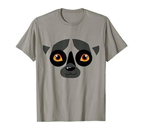 Lemur Gesicht Kostüm Lustiges Tier Halloween Geschenk T-Shirt (Lemur Kostüm Kind)