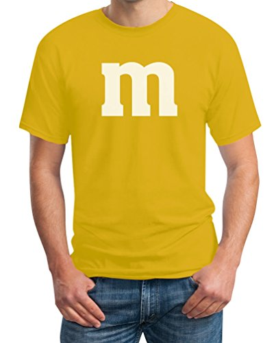 "Witzig Süßes Outfit ""m"" Herren Karneval Fasching JGA Paar Kostüme T-Shirt Gelb"