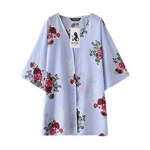 JMETRIC_Strandbluse D2003 Damen 2019 New Chiffon Shawl Blumendruck Kimono Cardigan Tops Cover Up Kittel Bikini Blouse (Blau,XL)