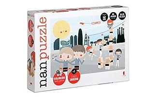 El Nan Casteller- Nanpuzzle castellers Palabras Inglés Reversible Para Colorear | Puzzles Infantiles 24 Piezas, colores (v13)